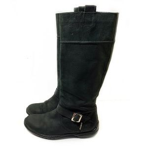 Costume National 9 Black Suede Knee Boots Buckle